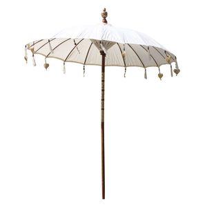 Bali Sonnenschirm Balinesischer Schirm Garten Baumwolle Sonnenschutz Handarbeit Retro Vintage Dekoschirm 2-teilig ca.180 cm, Farbe:Creme Weiß