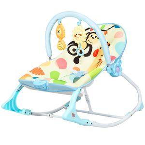 COSTWAY 3 in 1 Babywippe & Babyschaukel & Babyliegestuhl, Baby Schaukelwippe mit Vibrationsmodi, Babyschaukel mit abnehmbarem Spielbogen und Musik bis 18KG belastbar Blau