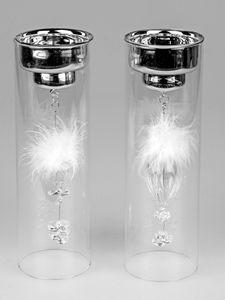 2er Set Teelichthalter Hänger Kristall und Federn 25 cm Kerzenhalter Windlicht