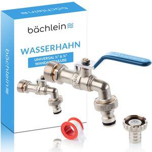 Bächlein Universal Wasserhahn für den Garten [blau] - Kugelhahn inkl. 2 Schlauchanschlüssen - 1/2 und 3/4 Zoll Anschluss