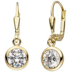 JOBO Ohrhänger 925 Sterling Silber gold vergoldet 2 Zirkonia Ohrringe