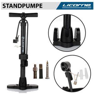 Licorne Bike Standpumpe, Standluftpumpe, Fahrradpumpe mit großem Manometer zur Druckanzeige, Dualkopf passend für alle Ventile (Dunlop Ventil, Französisches Ventil, Auto Ventil) Schwarz