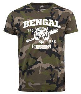 Herren Camo-Shirt Bengal Tiger Baseball Sport USA T-Shirt Camouflage Tarnmuster Neverless® camo M
