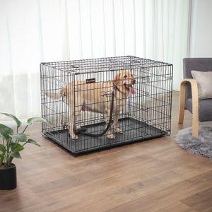 FEANDREA Hundebox mit 2 Türen 122 x 74,5 x 80,5 cm Hundekäfig zusammenklappbar schwarz PPD48BK