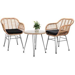 Casaria 3 tlg. Sitzgruppe Balkonset »Bali« 2 Lounge Gartensessel Beistelltisch Rattan-Optik Indoor Outdoor