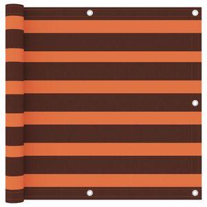 Balkon-Sichtschutz Balkonverkleidung Balkonbespannung | Sonnenschutz Windschutz Orange und Braun 90x500 cm Oxford-Gewebe | 1281