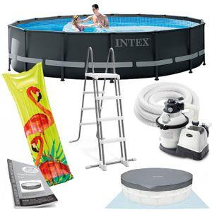 Intex Ultra Frame Swimming Pool 488x122 cm Schwimmbecken Stahlrahmen 26326 Komplett-Set mit Extra-Zubehör wie: Luftmatratze