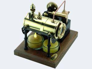 Wilesco D4, Dampfmaschinenmodell, Vormontiert, Messing, Messing, Poliert, Chrom