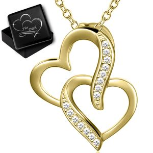 Damen Kette  echt 925 Sterling Silber gold Frauen Herz-Anhänger  Herz-Kette mit Gravur Dose Herzkette K973+V12
