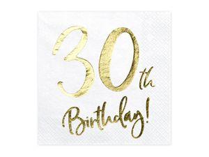 20 Servietten Geburtstag 30 weiß-gold