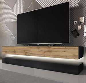TV Lowboard Bird in schwarz und Eiche 2-teilig 140 x 45 cm hängend mit LED Beleuchtung