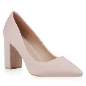 Mytrendshoe Damen Spitze Pumps Blockabsatz High Heels Klassische Party Schuhe 832347, Farbe: Nude, Größe: 37