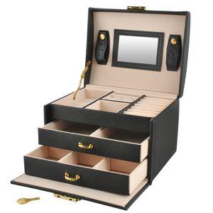 Schmuckkästchen Koffer 3 Farben Abschließbar Spiegel Tragegriff 2 Schubladen  6347 , Farbe:Schwarz/ black