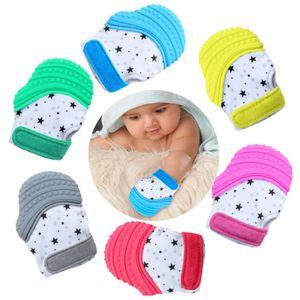 2er Pack Handschuh Baby Beißhandschuh Silikon Beißringhandschuh  Babys Beißspielzeug Beruhigende Schmerzlinderung Mitt Stimulierende (Grau)