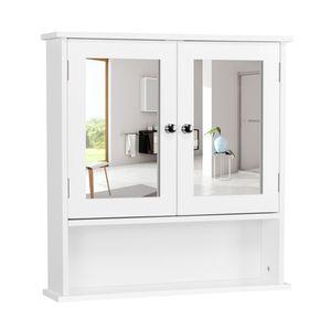 Yaheetech Spiegelschrank, Badschrank, Hängeschrank mit Spiegeltür, Badezimmerspiegel mit Ablagen, 56cmx13cmx58cm, Weiß