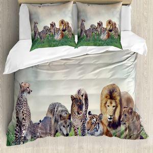 ABAKUHAUS Leopard Bettbezug Set für Einzelbetten, Digitale Tiere auf Gras, Milbensicher Allergiker geeignet mit Kissenbezug, 200 cm x 200 cm - 80 x 80 cm, Mehrfarbig