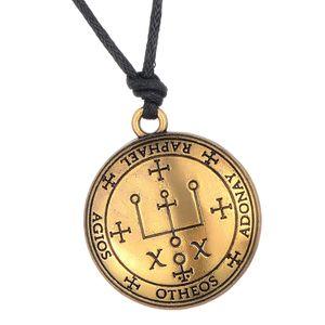 Bronze Erzengel Amulett Runde Hängende Halskette für Frauen Männer Geschenk
