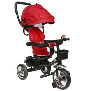 WYCTIN  Dreirad Kinderdreirad 4 in 1 Lenkstange Fahrrad Baby Kinderwagen rot