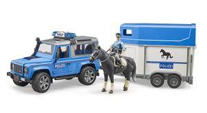 Land Rover Defender Polizeifahrzeug, Pferdeanhänger, Pferd + Polizist