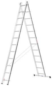 Hymer Alu Pro Allzweckleiter, zweiteilig, 2x12 Sprossen, Länge 3,39 / 5,63 m, Reichhöhe 4,53 / 6,48 m, Gewicht 12,9 kg
