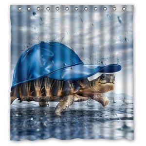ECZJNT Turtle mit blauem Hut im Regen Duschvorhang Polyester Stoff Badezimmer Dekorativer Vorhang Größe 165x180 cm