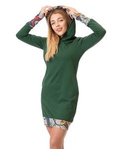 GFWL Umstandskleid Stillkleid #3in1 Schwangerschaftskleid Stillen GF8045XB in Grün plus mehrfarbiges Muster auf Grau, Größe Damen EU:38 Medium