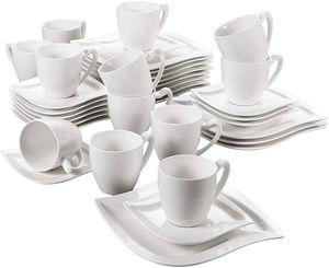 MALACASA, Serie Elvira, 36 teilig Kaffeeservice Tafelservice für 12 Personen