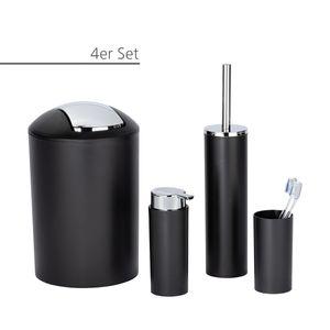 WC Badausstattung Toiletten Set Calvo für Badezimmer, Seifenspender, Zahnputzbecher, WC-Bürste, Eimer in Schwarz matt,  4-teilige Komplettausstattung,  Badutensilien aus robusten Material auch für Gäste-WC geeignet, Badzubehör
