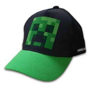 Minecraft Creeper - Basecap Baseball Kappe  Schwarz, Grün 54 cm