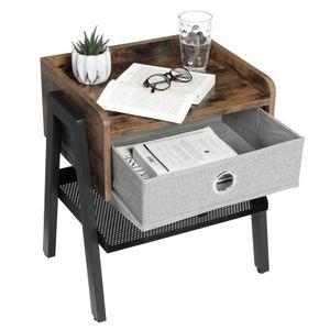 VASAGLE Nachttisch mit Schublade Metallrahmen 46 x 35 x 52,5 cm Beistelltisch mit Fußstütze und Gitterablage Vintage LET64X