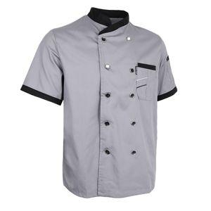 Kochjacke Uniform Kurzarm Hotelküche Kleidung Koch Mantel 2xl grau Farbe Grau Größe 2XL