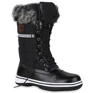 Mytrendshoe Warm Gefütterte Damen Stiefeletten Winterboots Stiefel Schuhe 814083, Farbe: Schwarz, Größe: 41