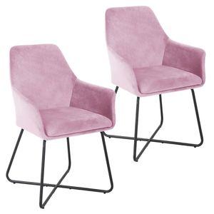 SVITA JOSIE Dining 2er Set Esszimmerstuhl Sessel Polsterstuhl Samt pink