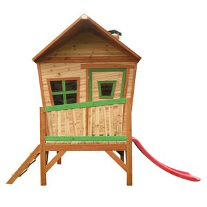 AXI Spielhaus Iris mit roter Rutsche | Stelzenhaus in Braun & Grün ausHolz für Kinder | Spielturm für den Garten
