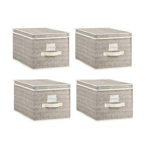Aufbewahrungsbox aus Stoff, Größe L, 30 x 40 x 25 cm, 2er Set, Set:4er Set, Farbe:Grau/weiss