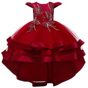 Baby  Mädchen Hochzeitskleid Brautjungfer Kleid Tutu Prinzessin Abendkleid Babykleid Geburtstagskleid Festkleid Taufkleid Schleife Festlich Festzug Kleidung, Rot, 120cm