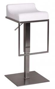 WOHNLING Barhocker WL1.290 Weiß Edelstahl höhenverstellbare Sitzhöhe 65 - 89 cm   Design Barstuhl mit Rückenlehne   Bistrohocker Barsitz Gepolstert   Thekenhocker für die Bar   Tresenstuhl Modern