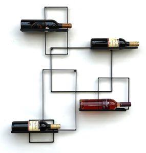 DanDiBo Weinregal Metall Schwarz Black Line Flaschenständer Flaschenregal Flaschenhalter Wandregal