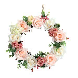 Rose Türkranz Wandkranz Kunstblumen Kranz Dekokranz mit Jute Schnur zum Aufhängen, aus Seiden