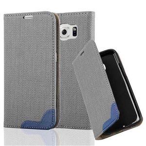 Cadorabo Hülle für Samsung Galaxy S6 - Hülle in GRAU BLAU - Handyhülle in Bast-Optik mit Kartenfach und Standfunktion - Case Cover Schutzhülle Etui Tasche Book Klapp Style