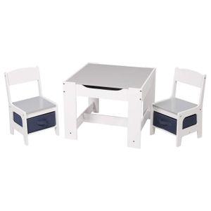 WOLTU 3tlg. Kindertisch Kindersitzgruppe mit 2 Stühle Sitzgruppe mit Stauraum für Kinder Vorschüler Kindermöbel, SG004