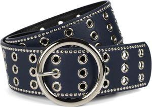 styleBREAKER Damen breiter Gürtel mit Lochnieten und runder Schließe, Nietengürtel, Taillengürtel, kürzbar 03010122, Farbe:Gold, Größe:100cm