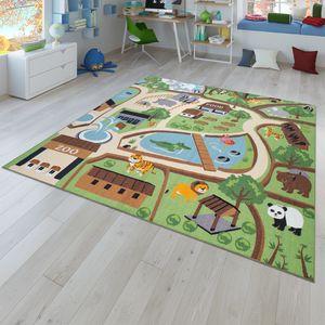 Kinder-Teppich, Spiel-Teppich Für Kinderzimmer, Zoo Mit Tiger, Bär, Löwe, Bunt, Größe:120x160 cm