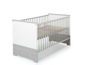 Schardt 2-teiliges Set Eco Silber bestehend aus Kombi-Kinderbett 70x140 cm (inkl. Umbauseiten) und Wickelkommode