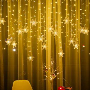 ROSNEK 96 LED Schneeflocke Lichterkette Wasserdicht Lichtervorhang Weihnachten Dekoration, Warmweiß