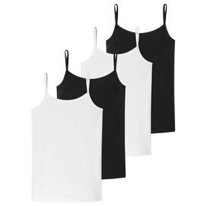 Schiesser 4er Pack Teens Girls 95/5 Organic Baumwolle Spaghetti-Tops / Unterhemden Unifarbenes Design, Mit schmalen Trägern, Elastischer Zweinadelbund am Saum