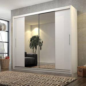 Mirjan24 Schlafzimmerschrank Kola IV 180, Schiebetürenschrank mit Spiegel, Praktische Garderobenschrank (ohne Beleuchtung, Farbe: Weiß)
