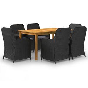 Gartenmöbel Essgruppe 6 Personen ,7-TLG. Terrassenmöbel Balkonset Sitzgruppe: Tisch mit 6 Stühle, Schwarz❀3518