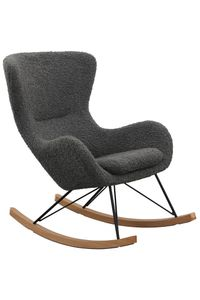SalesFever Schaukelstuhl | Bezug Teddyfell | Kufen Massiv-Holz | Gestell Metall schwarz | B 75 x T 102 x H 106 cm | grau