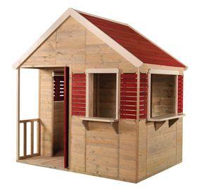 Wendi Toys Kinderspielhaus Krokodil 1,2x1,55 m natur Gartenhaus inkl. Fenster und Veranda